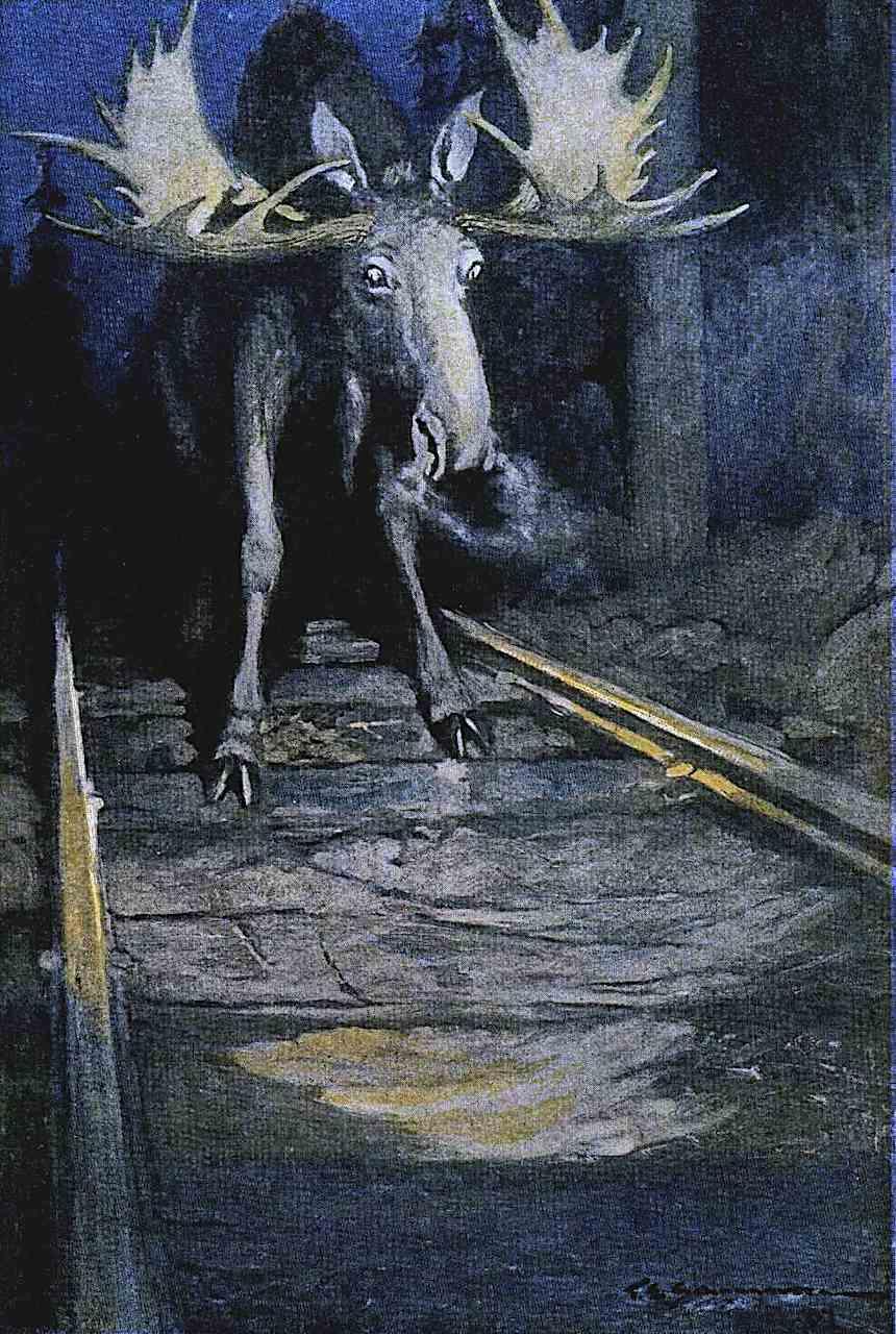 a Frank E. Schoonover illustration, moose meets train