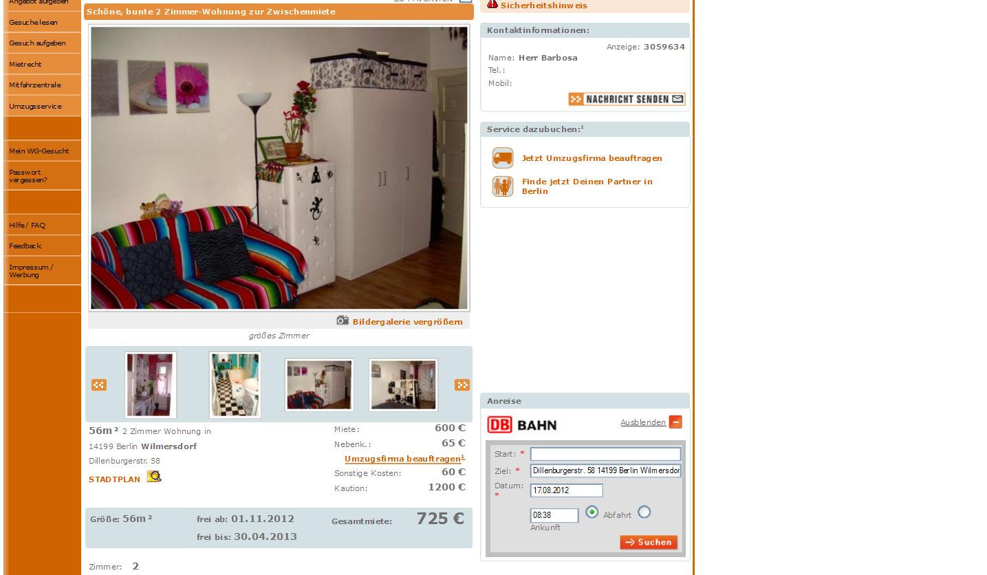 17 august 2012 for Wohnung zur zwischenmiete