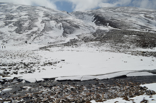 A stream slicing its way through the icy ground, Zero Point, North Sikkim