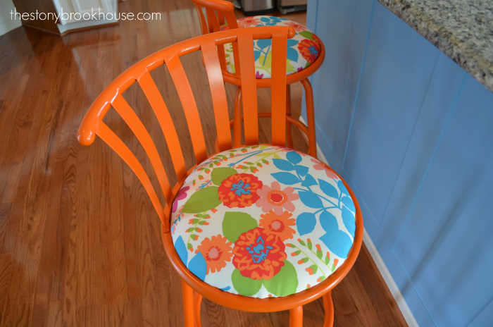 Orange barstool close up