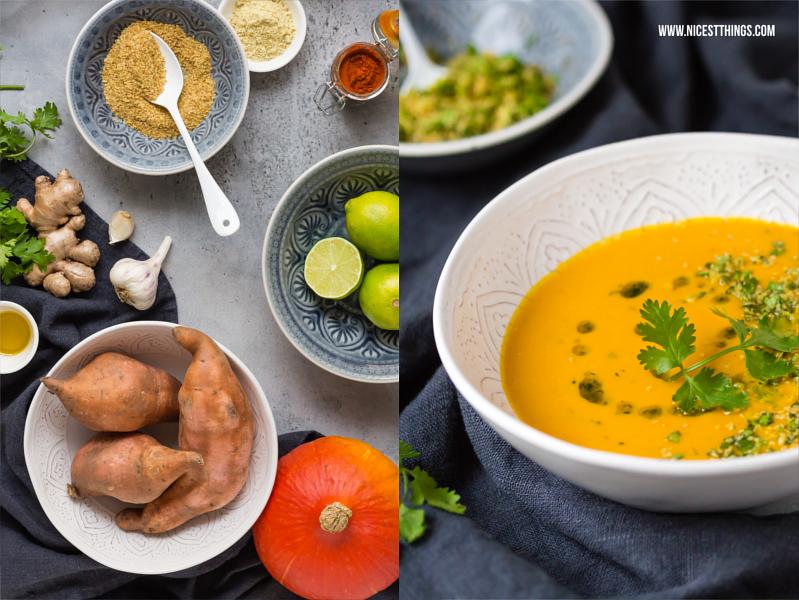Kürbis-Süßkartoffelsuppe nach Thai-Art mit Koriander und Limette