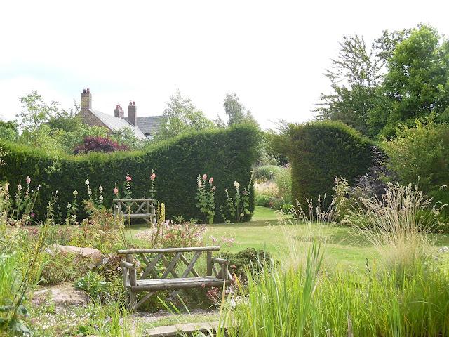 ogród angielski, żywopłot z cisa, drewniana ławka