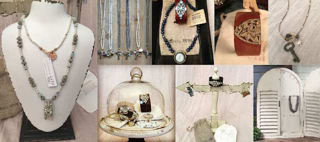 vintage necklaces, leather cuffs with vintage rhinestones, antique jewelry
