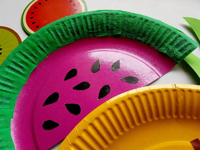 arbuz- ananas - owoce z papierowych talerzyków - summer children crafts - diy - prace plastyczne - wakacje z dzieckiem - kreatywnie z dzieckiem