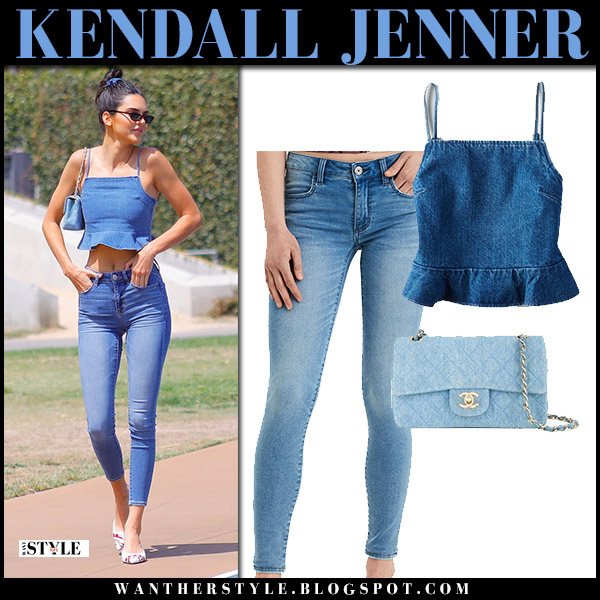 Kendall Jenner in denim crop top and super skinny jeans american eagle model street style august 21