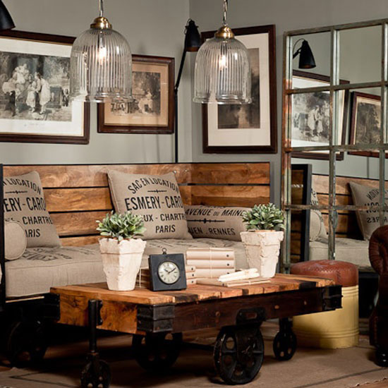 industrial chic furniture for family room with lamp
