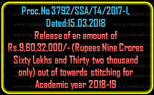 SSA Proc No 3792 - Release of an amount of Rs.9,60,