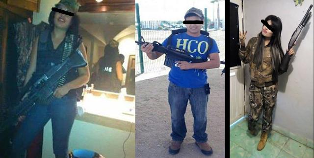 """Fotografías filtradas de Sicarias """"marucheras"""" posando con rifles en mano vestidas tipo militar en Tamaulipas """" no les da miedo mostrar el rostro"""""""
