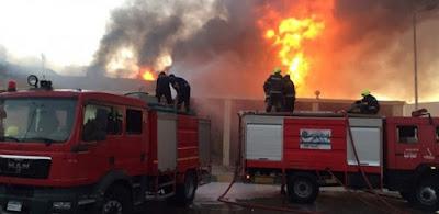 اشتعال النيران بعدد من السيارات أعلى كوبري القناطر