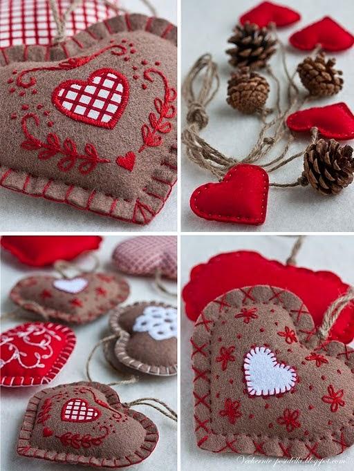 szyte i haftowane serca