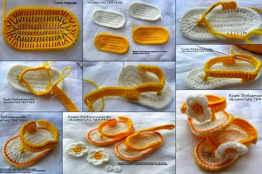 Sandalias tejidas crochet para bebés
