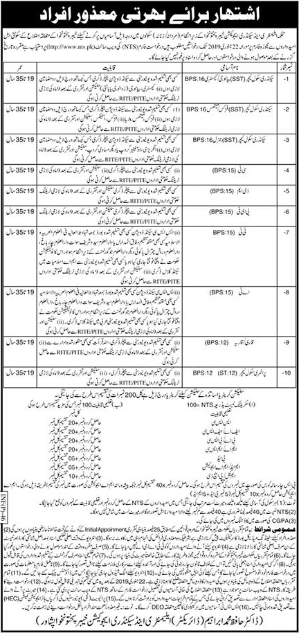 New NTS Jobs vacancies In Elementary And Secondary Education Department 10 January 2019