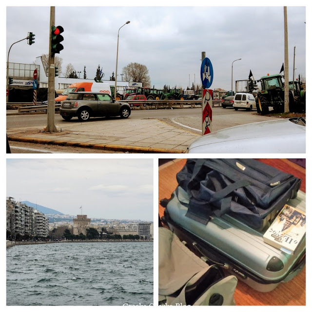 Panorama miasta Saloniki, walizki, traktory na ulicy w Salonikach, Grecja, blokada drogi. auta,