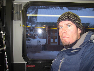 Noah on the free bus back to Snowmass after a great day at Aspen Mountain