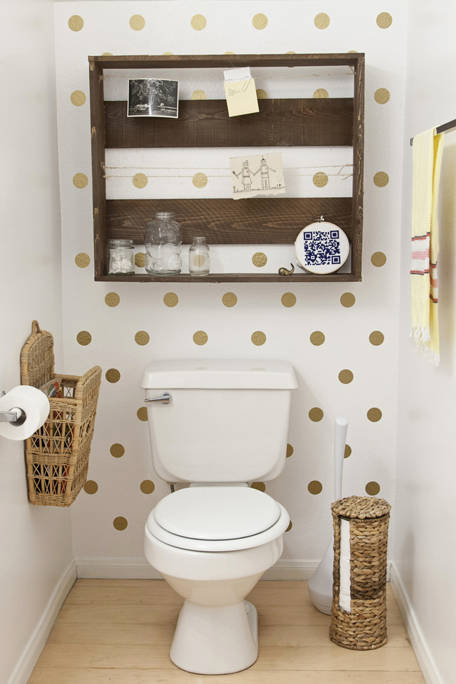 Polka Dot Bathroom Reveal Today I D Like To Welcome You The Little Half Bath On First Floor Of Our Apartment