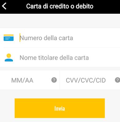 dati carta di credito