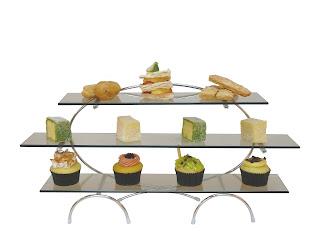 Display afisare aperitive. din otel inoxidabil cu rafturi de sticla 115x550x(H)270 mm