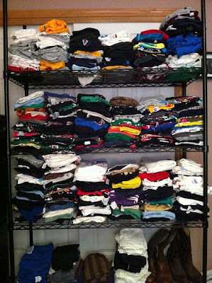 T-shirts on shelves