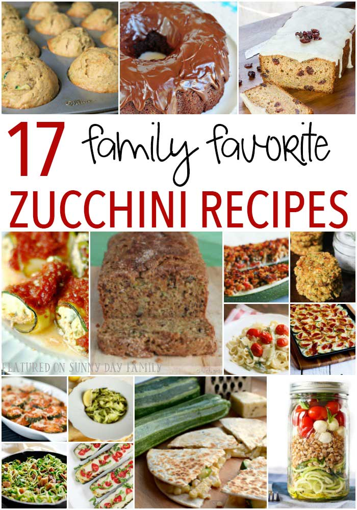 17 zucchini recipes your family will love! Zucchini bread, zucchini muffins, a delicious chocolate zucchini cake, and lots of dinner recipes too. You have to try these!