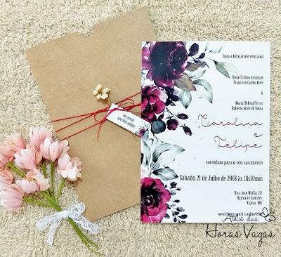 convite de casamento artesanal personalizado rustico floral flores do campo vermelho marsala delicado aquarela aquarelado envelope luva kraft cordao encerado casamento no campo simples delicado moderno mini wedding invitation