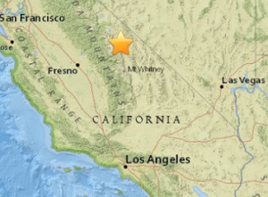 Earthquake epicenter map of Big Pine, California