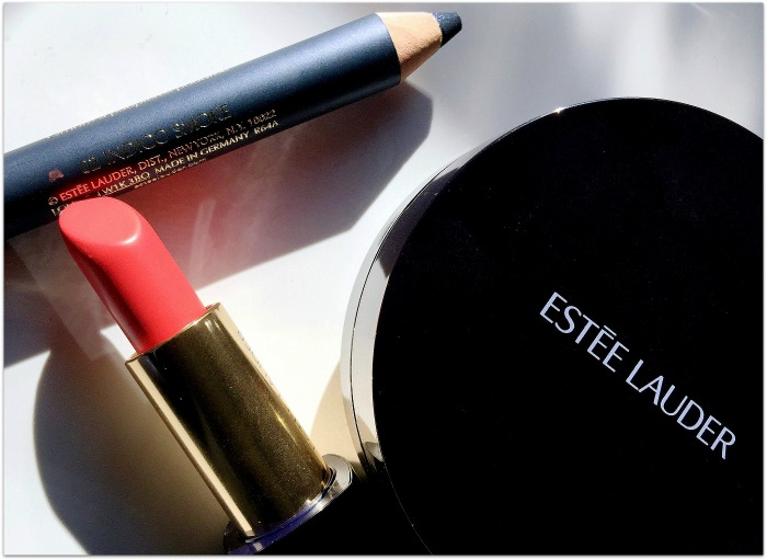 Estee Lauder Double Wear Liquid Compact Foundation, Furious Pure Colour Envy Sculpting Matte Lipstick, Indigo Smoke Magic Smoky Powder Shadow Stick Swatches