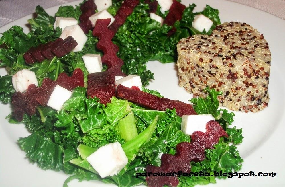 quinoa trójkolorowe z sałatką z jarmużu w parowarze