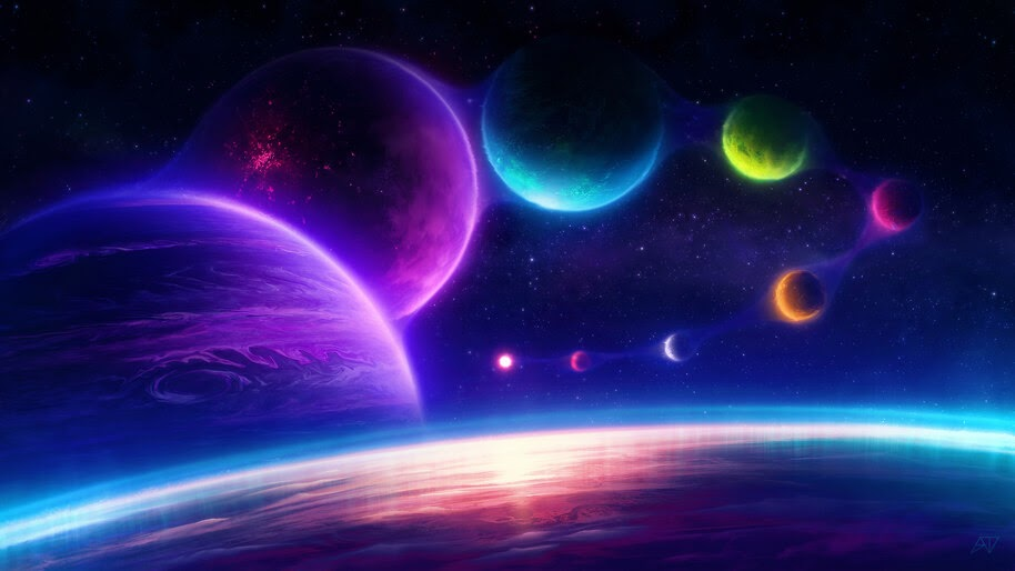 Colorful, Planets, Space, Digital Art, 4K, #4.2074