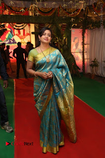 Actress Indraja Stills in Blue Silk Saree at Shatamanam Bhavathi Audio Launch  0045.JPG