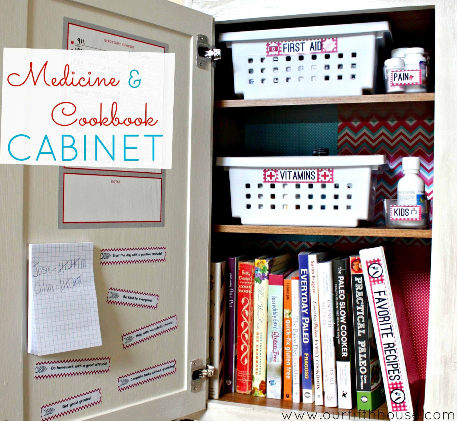 Organized Medicine And Cookbook Cabinet