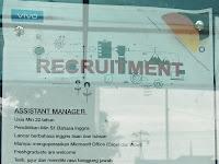 Lowongan kerja Assistant Manager dan Lowongan kerja Sales