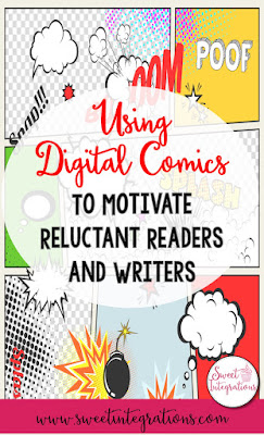 Using digital comics infused into your reading or writing curriculum is a great way to motivate your reluctant learners. The different online apps & websites listed here are great resources for your 2nd, 3rd, 4th, 5th, & 6th grade classroom or home school students. It's a great way to bring technology into students' day. Science, social studies, & various ELA topics can all be covered depending on which technology component you use. {second, third, fourth, fifth, sixth graders, upper elementary}