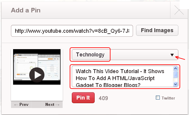 Pin Your YouTube Videos To Pinterest - Last Step