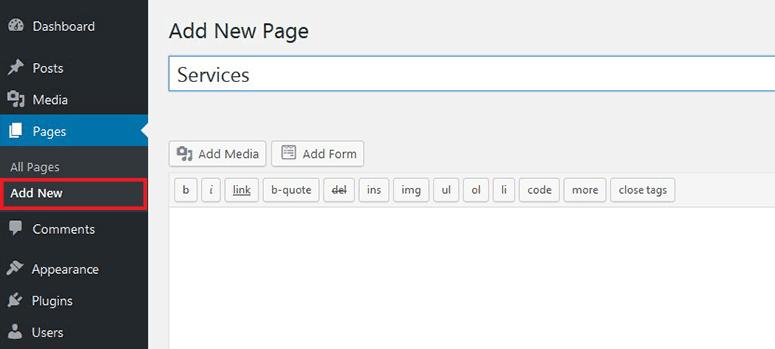 Halaman baru di WordPress