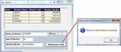 Add data in MSHFlexGrid Output