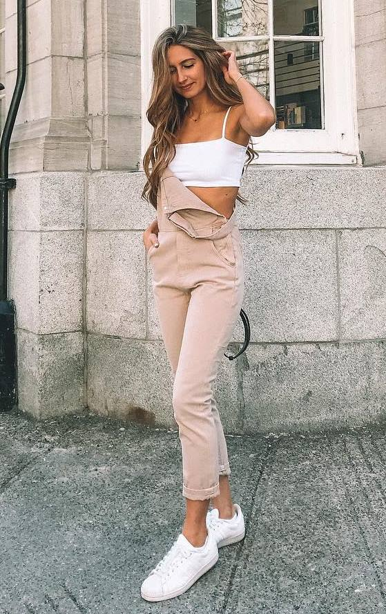 cute outfit / blush jumpsuit + sneakers + white crop top