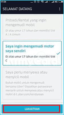 daftar Uber motor secara online