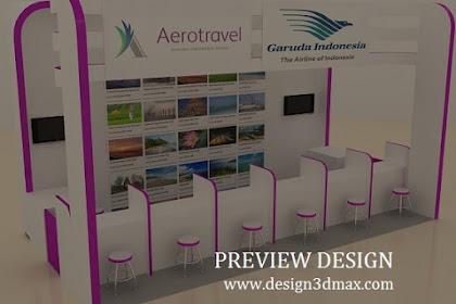 Jasa desain booth L aerotravel jual beli tiket pesawat tour konsep simpel minimalis