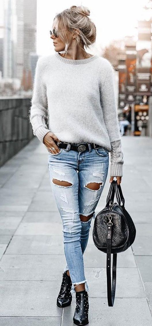 cozy street style | white sweater + ripped jeans + bag + boots