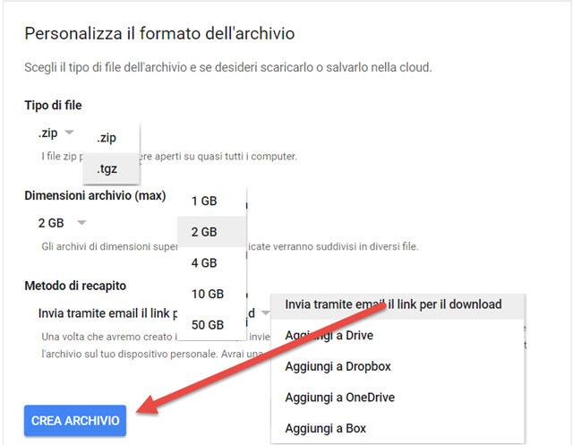 personalizzare-archivio-google-takeout