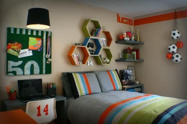 غرفة شاب واحد بسررير كبير وألوان عصرية