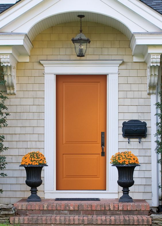 front door, front entrance, orange front door