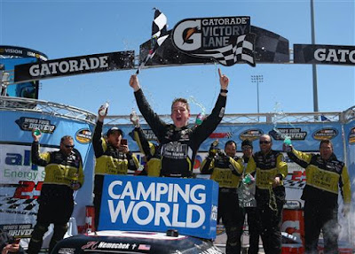 John H. Nemechek, driver of the #8 Fleetwing Chevrolet, celebrates in Victory Lane