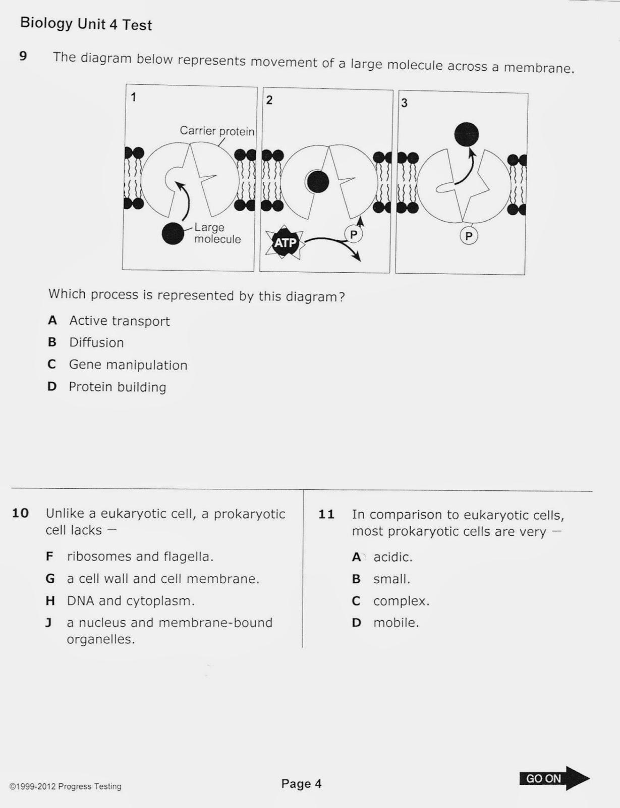 Biology With Coach T Unit 4 Practice Test Question Review Cells