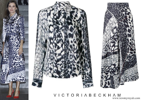 Queen Letizia wore Victoria Beckham Leopard-print silk blouse and midi skirt
