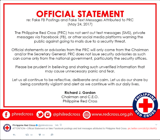Official message from Philippine Red Cross about terror alert in Metro Manila