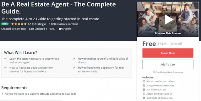 [100% Off] Be A Real Estate Agent - The Complete Guide.| Worth 74,99$
