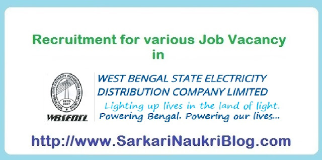 Recruitment for Naukri Vacancy in WBSEDCL Kolkata