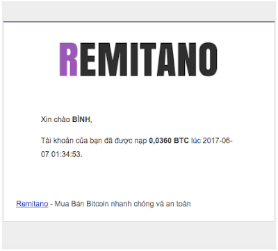 Ví tiền Remitano xác nhận số tiền vừa nhận
