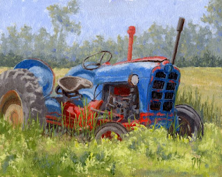 tractor painting art Ford abandoned field farm